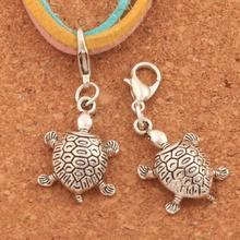 Turtle Tortoise Animal Lobster Claw Clasp Charm Beads 35.9x14.6mm 100PCS Tibetan silver Jewelry DIY C1182 triangular arrow lobster claw clasp charm beads 24 4x4 6mm 200pcs tibetan silver jewelry diy c462