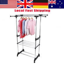 Ship From US WALFRONT Adjustable Rolling Garment Stainless Steel Clothes Storage Organization
