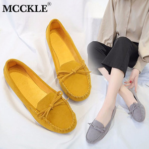 MCCKLE New Flat Shoes Women Slip on Casual Loafers Female Bowtie Fashion Suede Moccasions Ballet Flats Shallow Ladies Footwear