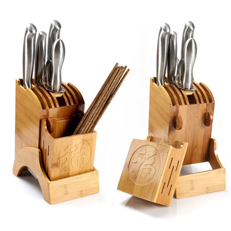Wooden Knife Holder Bamboo Knife Block Stand Rack Kitchen Draining Storage Rack Basket Tableware Cooking Tool High Quality