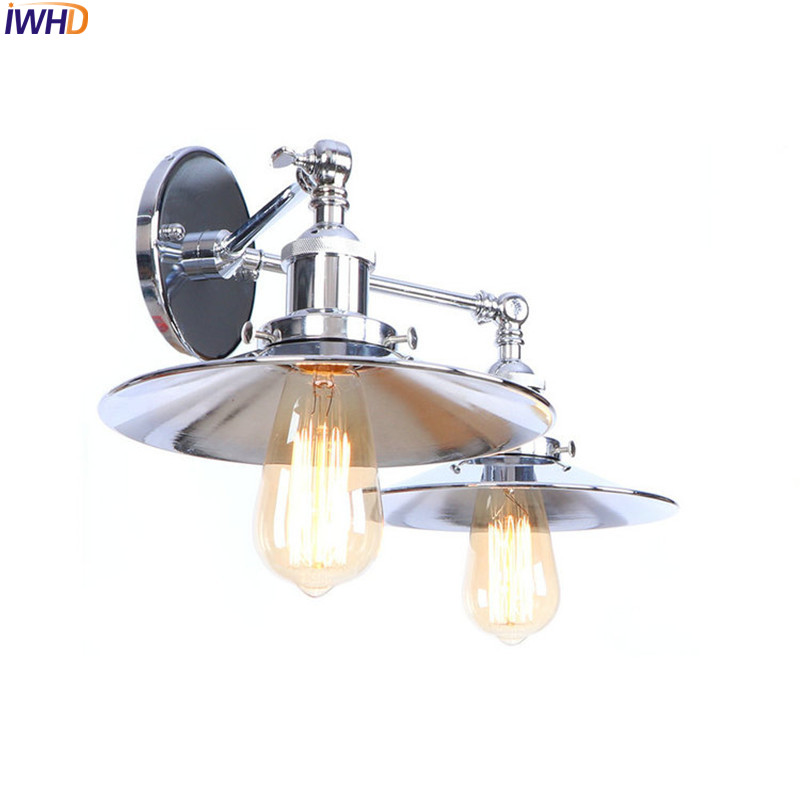 купить IWHD Loft Style Retro LED Wall Lamp Vintage Bedroom Living Room 2 Heads Industrial Wall Lights Sconce Wandlampen Home Lighting по цене 4188.65 рублей