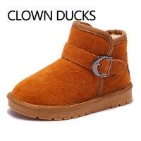 CLOWN DUCKS Winter Kids Boots Genuine Leather Children Shoes For Boys Girls Snow Boots Plush Warm