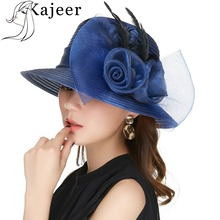 Kajeer Blue Color Yarn Church Hats For Women Big Bow Feather Flower Summer Sun Protect Hat Elegant Fedoras Wedding Sea Beach