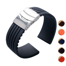 New Design Black Silicone Rubber Watch Strap Band Deployment Buckle Waterproof 18mm ~ 24mm F17