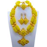 2017 Free Shipping Yellow African Costume Beads Jewelry Set Dubai Gold color Jewelry Set Fashion Party Jewelry Set
