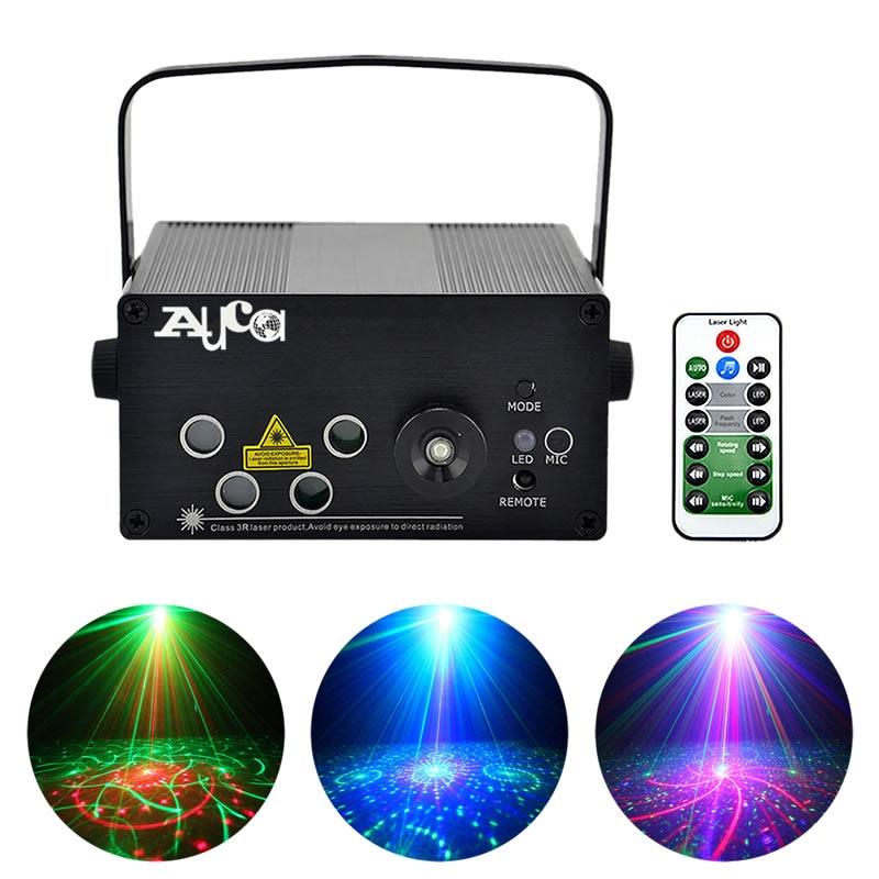AUCD Mini Remote 4 Lens * 20 Patterns RGRB 4 Laser & BLUE LED Adjust Speed Stage Lighting DJ Club Home Party Show Lights L80RGRB free shipping 697 619 7 7x17x5 mm full zro2 ceramic ball bearing