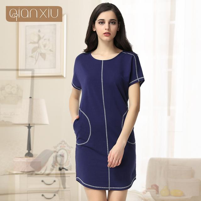 2016 New Time-limited Pockets Gecelik Qianxiu Cotton Nightgown For Women Knee-length Short Sleepwear Summer Casual Nightdress