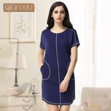 Time limited Pockets Gecelik Qianxiu Cotton Nightgown For Women Knee length Short Sleepwear Summer Casual Nightdress 1656