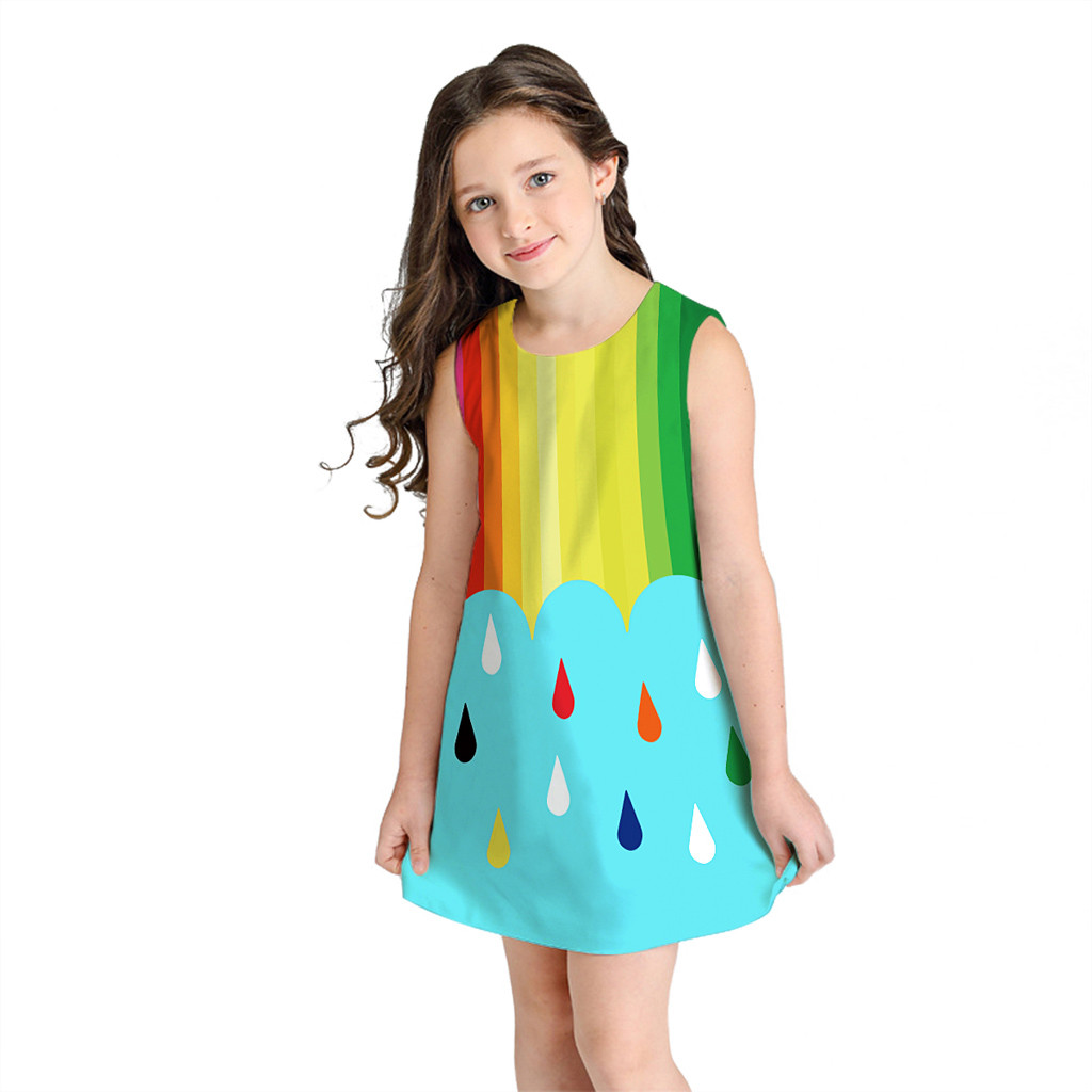 Girls' Clothing Mother & Kids Adaptable Muqgew 8-10t Teen Toddler Kid Girl Summer Sleeveless 3d Print Cartoon Dresses Casual Clothes Fashion Roupa Infantil Menina #sg Unequal In Performance