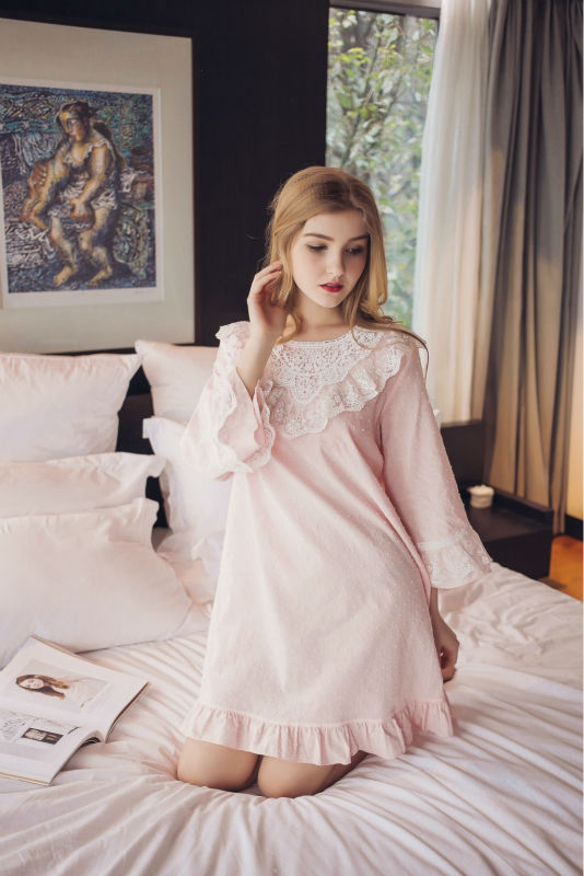 Cotton Free Shipping Nightgown Princess Nightdress Royal pijama Ladies Sleepwear Women nightwear AW7651