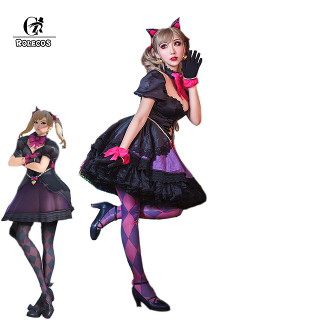 ROLECOS New Over Game Character D.VA Cosplay Costumes Song Hanna Black Cat Cosplay Luna Women Costumes Full Set