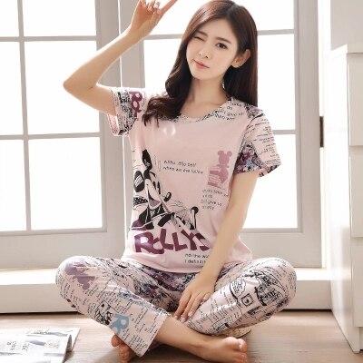 2017 summer short-sleeve Cotton Women Home Clothing Couples Matching Pajamas Adult Casual Pajamas 2 Pc tops+pants Sets sleepwear