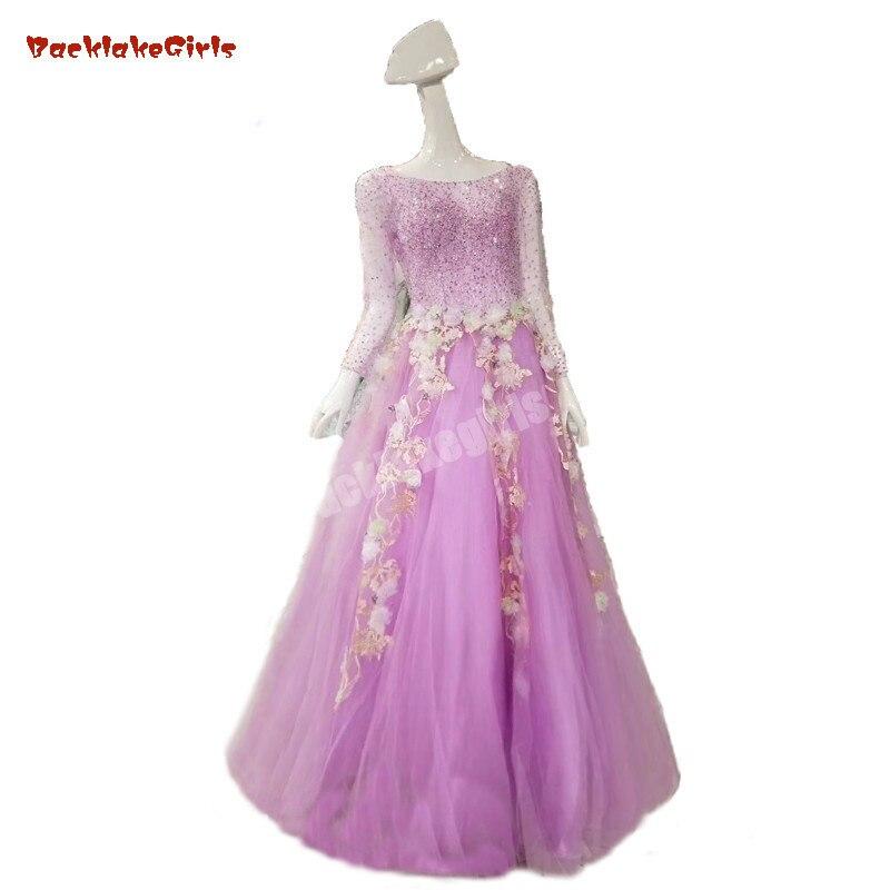 Vente chaude de haute qualité lilas violet dentelle Sexy à manches longues longueur de plancher Discount robes de bal femmes robe de soirée 2018 nouveau Style
