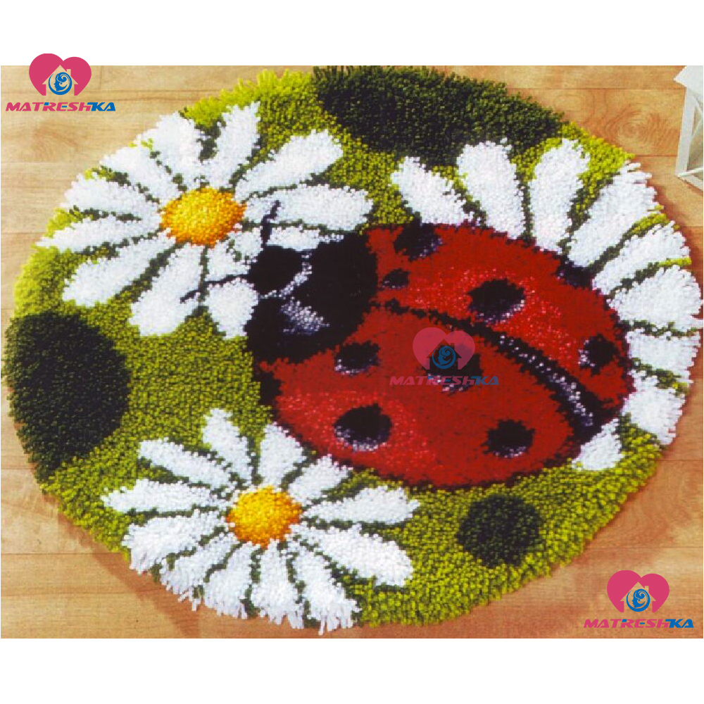 Latch Hook Rug Kits DIY Needlework Unfinished Crocheting Rug Yarn Cushion Mat Ladybug 3D Embroidery Decorative Carpet CustomLatch Hook Rug Kits DIY Needlework Unfinished Crocheting Rug Yarn Cushion Mat Ladybug 3D Embroidery Decorative Carpet Custom