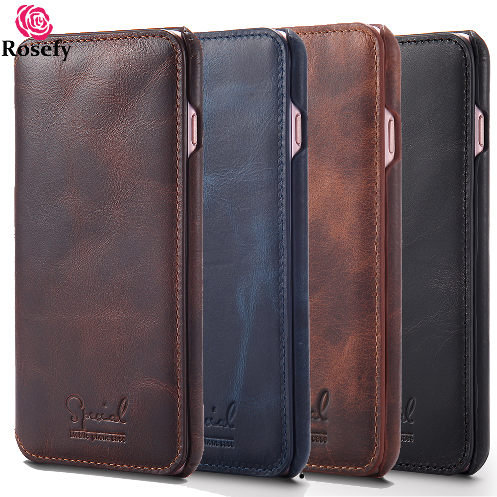 Genuine Leather Flip Case Cover For IPhone 6 6s 7 8 Plus Luxury Handmade Business Style Card Holder Cow Real Leather Best Bag