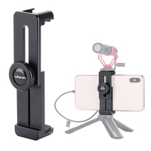ULANZI ST 02L Aluminum Phone Tripod Holder Adapter with Microphone Cold Shoe Mount for iPhone X XS MAX Android Mobile Vlog Setup