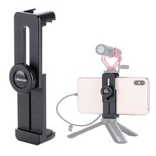 ULANZI ST 02L אלומיניום טלפון חצובה מחזיק מתאם עם מיקרופון קר נעל הר עבור iPhone X XS מקסימום אנדרואיד נייד Vlog התקנה