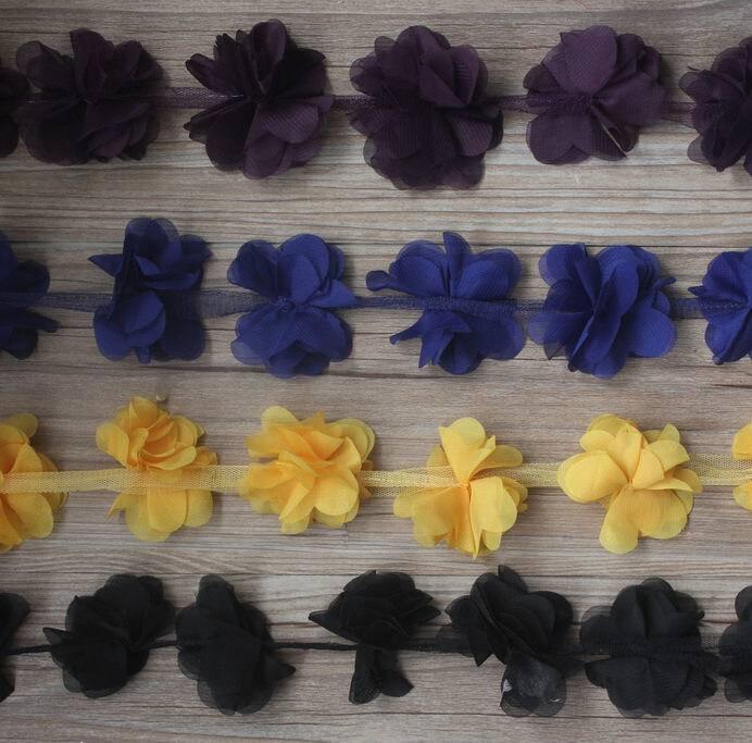 20y 6 см 6 лепестков ткань шифон в цветочек отделка для девочек аксессуары для волос шифоновая повязка на голову цветы