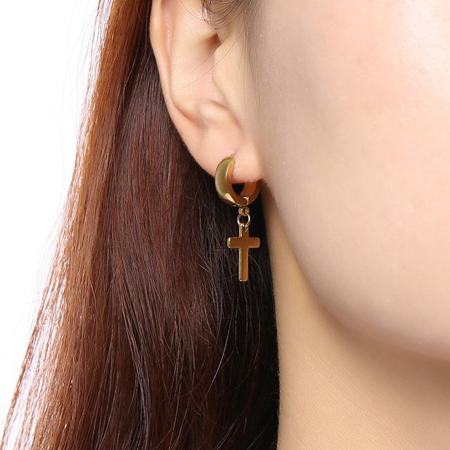 Men's Stainless Steel Circle Cross Huggie Earrings