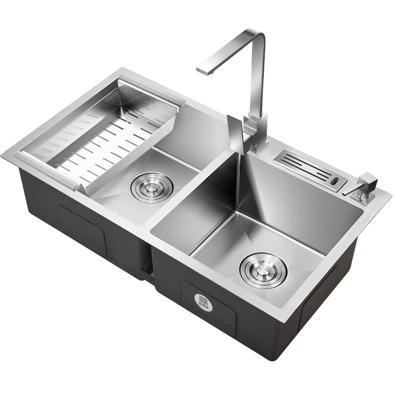 basins dual slot 304 Stainless steel kitchen sink sink hand wash dish pool for dish double bowl with faucet rectangular