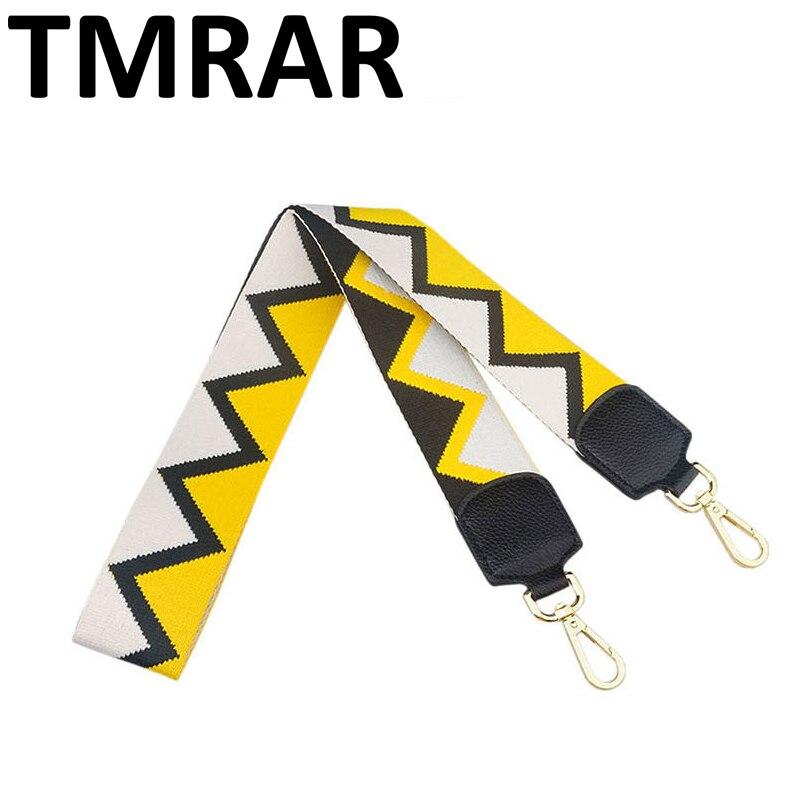 2019 New handbags strap triangle design belt national stripe star canvas bag straps trendy easy holding shoulder straps qn254 belt