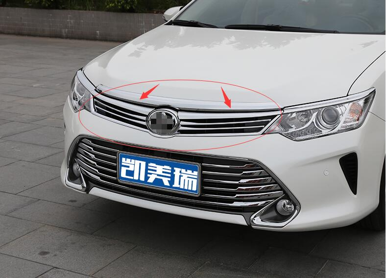 ФОТО High Quality car styling cover detector trims ABS chrome Front up Grid Grill Grille Around moulding 1pcs for Toyota Camry 2015