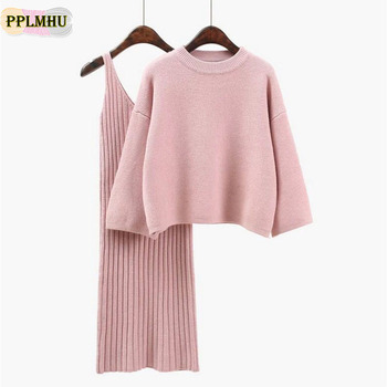 Fashion Knit Dress Suit Women 2020 Solid Colors Batwing Sleeve Pullover Sweater And Knitting Package Hip Skirts Two Piece female batwing sleeve self tie knit dress
