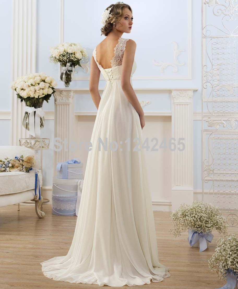 Sheath Sleeveless Top Lace Bridal Gown Beaded Chiffon Wedding Dress Sweep Train White Ivory With Liques A003 In Dresses From