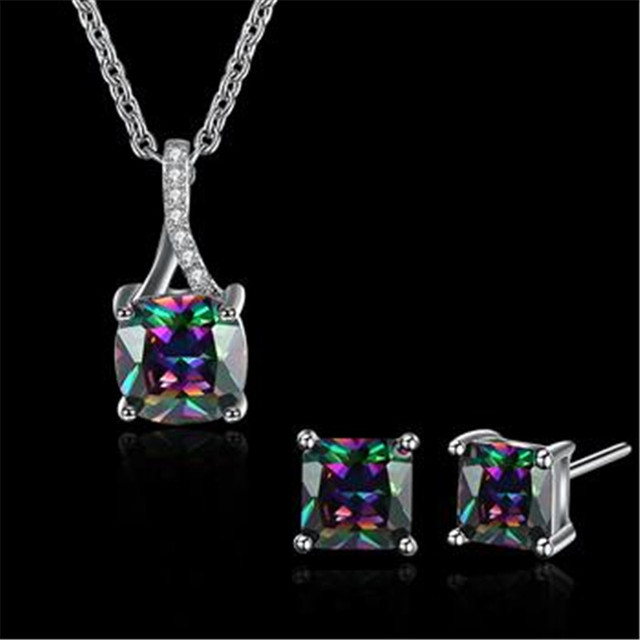 Fashion Jewelry White Gold Color Colour Cubic Zirconia Earrings And Pendant Neckalce Sets Women Engagement