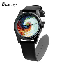 Enmex Individualization  design wristwatch 3D Rainbow whirlpool  creative design Oil Painting fashion quartz clock watch 2019 enmex design wristwatch 3d moon creative design stainless steel case oil painting face clock fashion quartz clock watch
