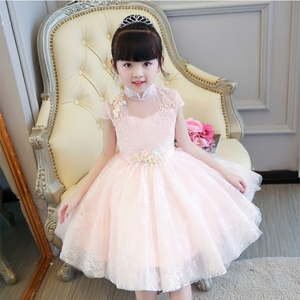 Image 4 - 2019 Summer Elegant Sweet Pink Children Girls Luxury Embroidery Lace Birthday Wedding Party Princess Ball Gown Dress Clothes