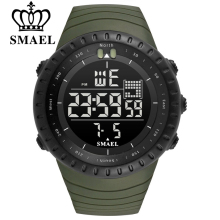 SMAEL Men Outdoor Sports Electronic chronograph 2018 New Men's Watch Big Dial Digital 50M waterproof Digital LED Wrist Watches
