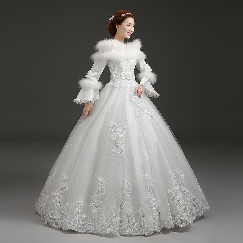 Winter Wedding Dress Sequin Lace Bridal Gown Faux Fur Collar Long ...