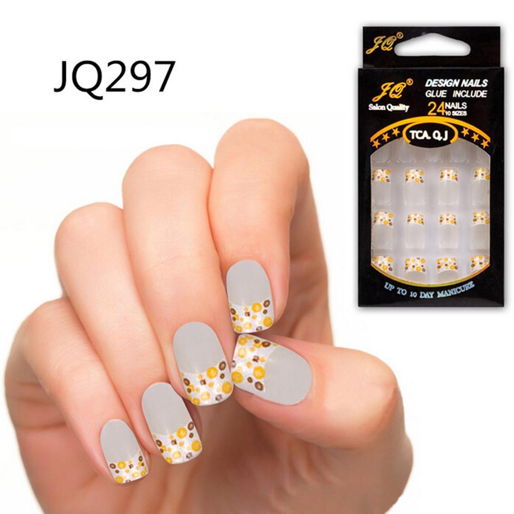 24Pcs/lot Hot Sale False French Fake Nails for Nail Art Design Tips ...