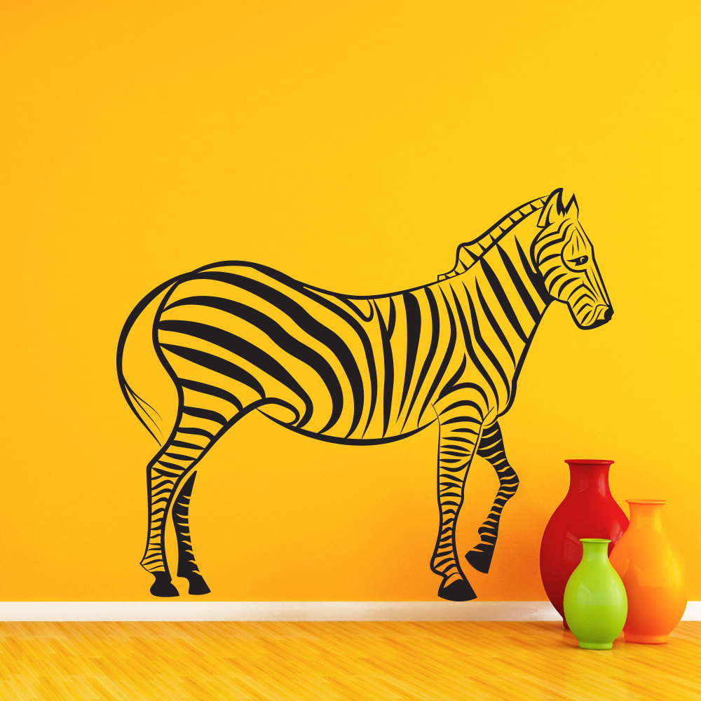 Cool Walking Zebra Art Wall Stickers Special Designed Wall Murals ...