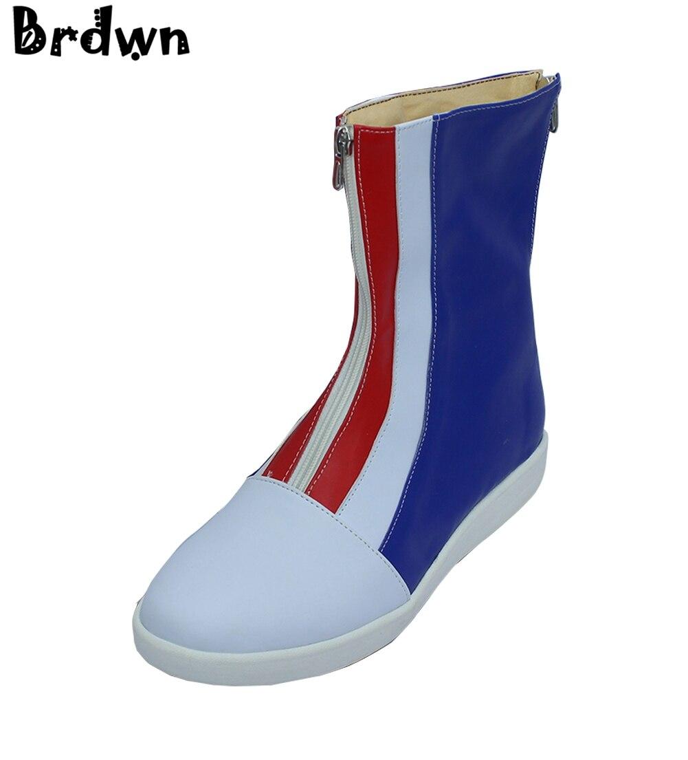 Brdwn Youkai Vigilanza degli uomini Nathan Adams Cosplay breve stivali scarpe Su Misura