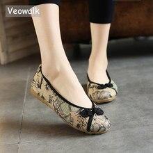 Veowalk الصينية عقدة المرأة الأزهار المطبوعة قماش الباليه الشقق الرجعية السيدات عادية الانزلاق على الباليه الراحة القديمة بكين الأحذية