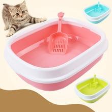 Cat Toilet Tray  Pet Bedpans Semi Closed Anti Splash Litter Box Plastic Bedpan Case Supplies Stand