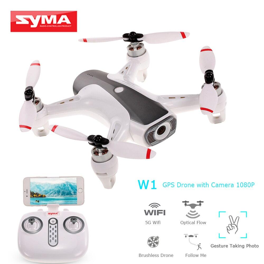 Drone Syma W1 RC 2.4G 4CH WIFI FPV sans brosse Drone de maintien d'altitude de débit optique avec caméra HD quadrirotor grand Angle 1080 P-in Hélicoptères télécommandés from Jeux et loisirs    1