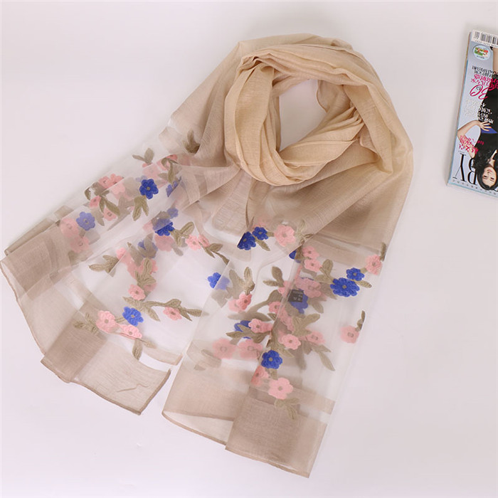 Fashion Design Floral Embroidered Organza Scarves and Shawls for Women Muslim Hijab Long Scarves for Ladies 180 X 70cm