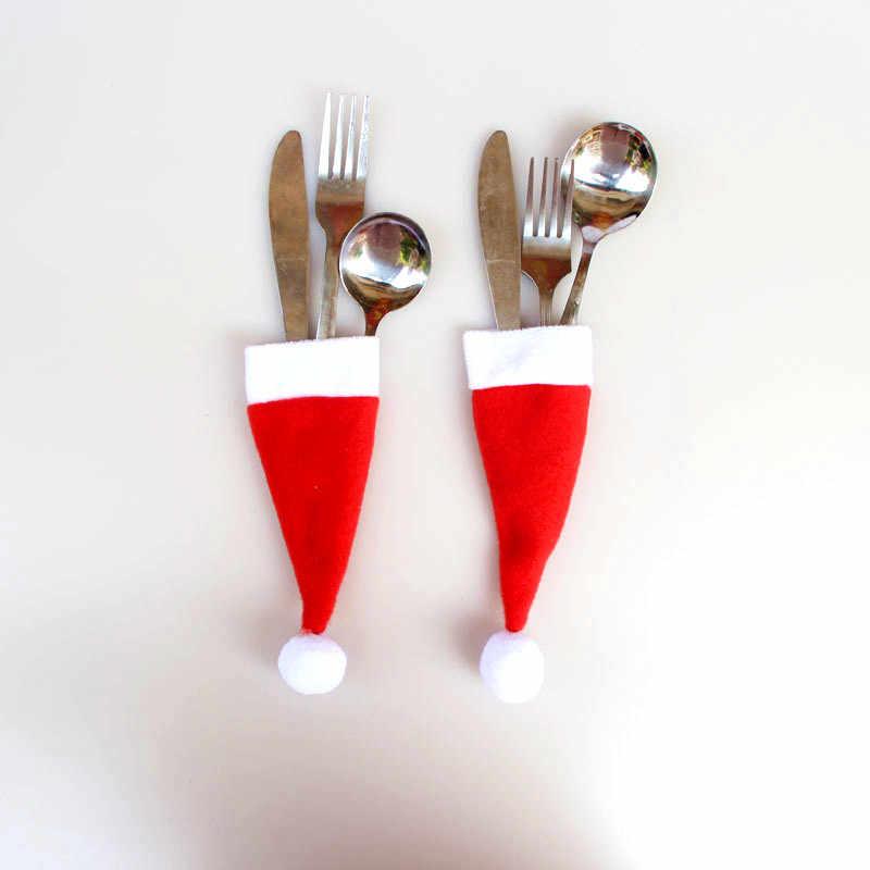חדש שנה 2020 חג המולד כובע כלי שולחן סכין מזלג מחצלת חג המולד קישוטי Navidad חג המולד קישוטים לבית לידה נואל מתנה