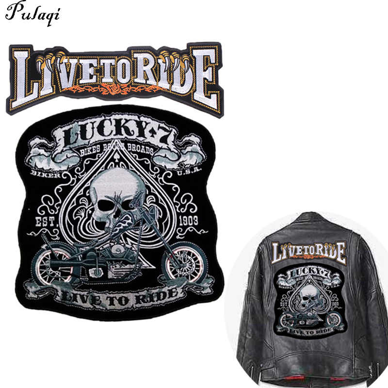 Pulaqi Fine Motorcycle Embroidered Iron On Patches Large Punk Skull Badges Big Biker Patches For Clothing Coat Accessories F