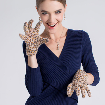 Women'S Autumn And Winter Wool Fabric Gloves Sexy Leopard Gloves A3041-5 photochromic wool fabric