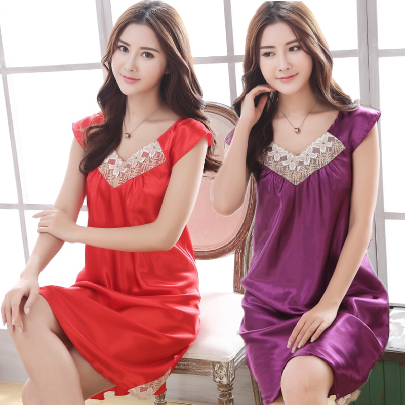 Summer Sexy Lace Silk Satin Sleeveless Women   Nightgown   &   Sleepshirt   Butterfly Sleeve Female Nighty V-Neck Hot Ladies Sleepwear
