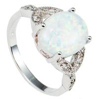 Size 5 6 7 8 9 10 11 925 Sterling Silver Oval Cut Fire Opal Ring
