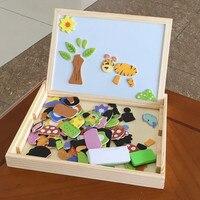 תינוק צעצועים תכליתי תיבת מחקר צעצועי עץ פאזלים מונטסורי למידה חינוכית ציור לוח מגנטי בעלי החיים מתנת ילד