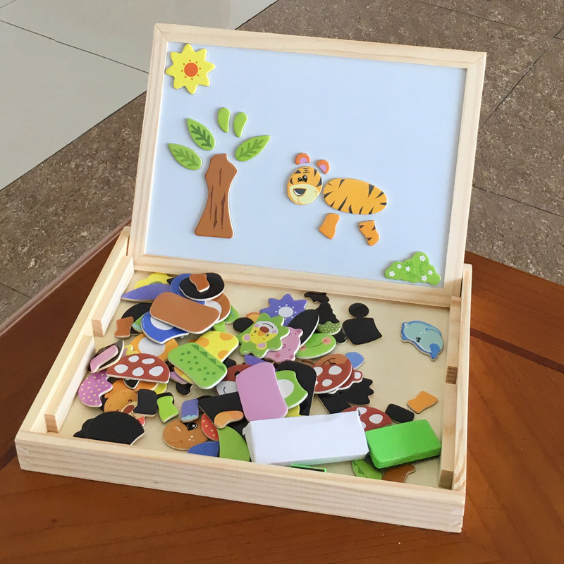 Baby Toys Multipurpose Study Box Animal Magnetic Puzzles Wooden Toys Learning Montessori Educational Drawing Board Child Gift рюкзак deuter giga blackberry dresscode