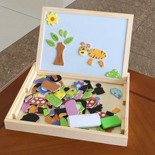 Baby Toys Multipurpose Study Box Animal Magnetic Puzzles Wooden Toys Learning Montessori Educational Drawing Board Child