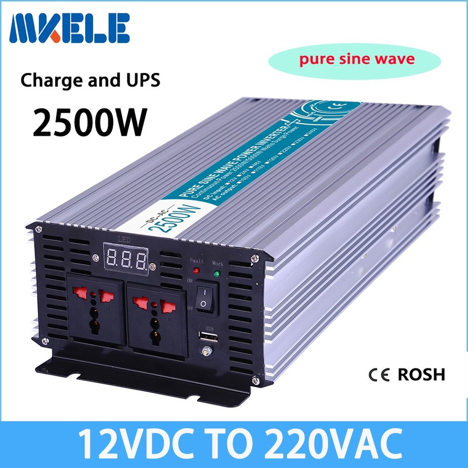 Mkp2500-122-c 2500 Вт Чистая синусоида Инвертор 12 В до 220 В Солнечный Инвертор преобразователь напряжения с зарядное устройство