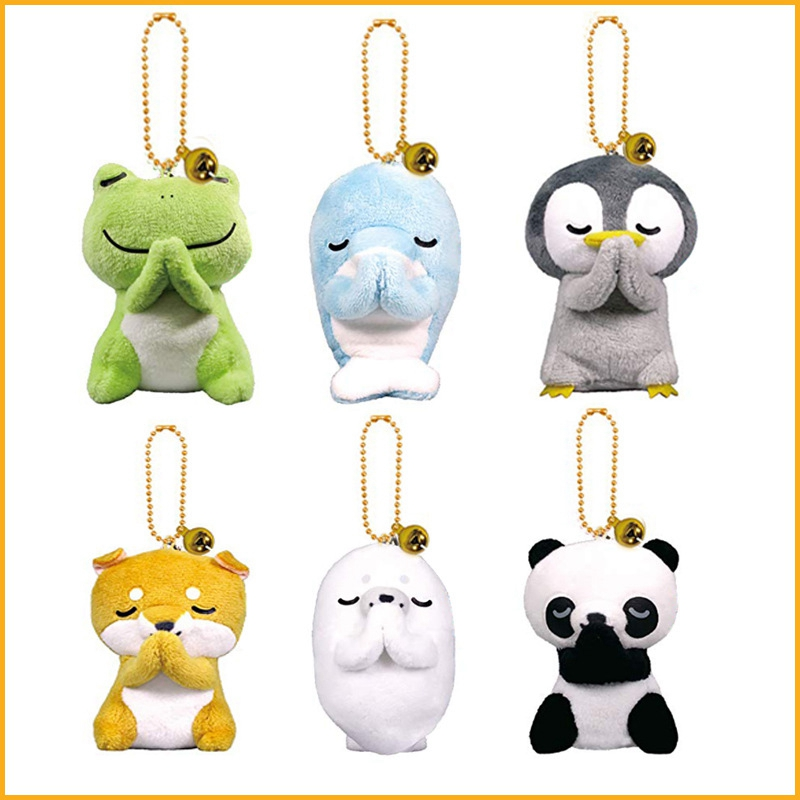 Cute Mini Frog Panda Penguin Dolphin Akita Dog Plush Filled Toy Keychain Bag Charm Filled Plush Animal Toy Keychain Gifts-TOY161
